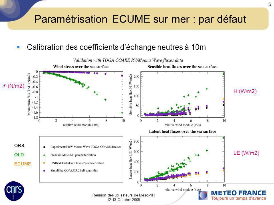 Réunion des utilisateurs de Méso-NH 12-13 Octobre 2009 6 Paramétrisation ECUME sur mer : par défaut Calibration des coefficients déchange neutres à 10