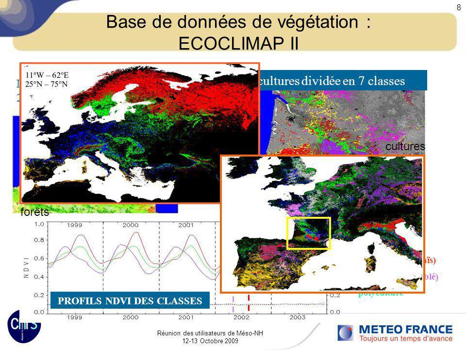 Réunion des utilisateurs de Méso-NH 12-13 Octobre 2009 8 Base de données de végétation : ECOCLIMAP II Land cover de Corine 2000: 250m resolution cultu