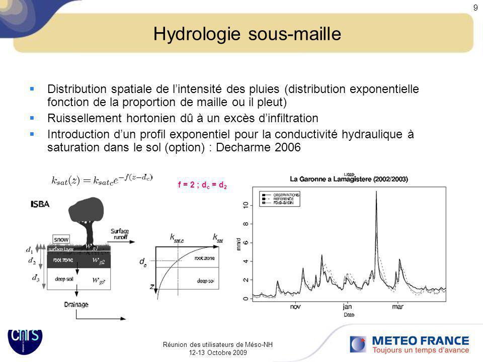 Réunion des utilisateurs de Méso-NH 12-13 Octobre 2009 9 Hydrologie sous-maille Distribution spatiale de lintensité des pluies (distribution exponenti