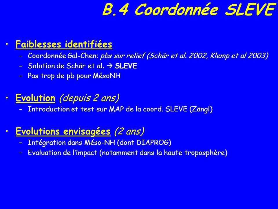 B.4 Coordonnée SLEVE Faiblesses identifiées –Coordonnée Gal-Chen: pbs sur relief (Schär et al.