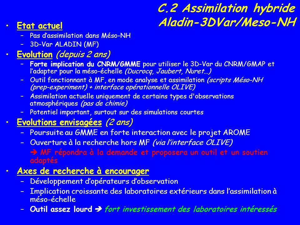 C.2 Assimilation hybride Aladin-3DVar/Meso-NH Etat actuel –Pas dassimilation dans Méso-NH –3D-Var ALADIN (MF) Evolution (depuis 2 ans) –Forte implicat