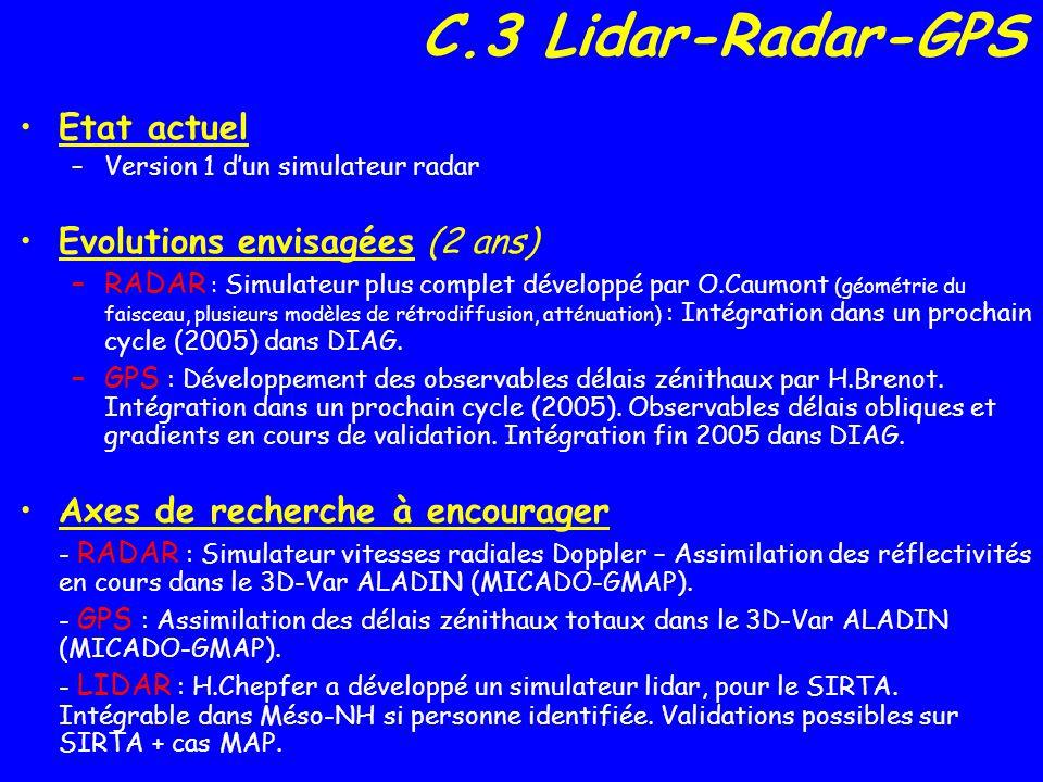 C.3 Lidar-Radar-GPS Etat actuel –Version 1 dun simulateur radar Evolutions envisagées (2 ans) –RADAR : Simulateur plus complet développé par O.Caumont (géométrie du faisceau, plusieurs modèles de rétrodiffusion, atténuation) : Intégration dans un prochain cycle (2005) dans DIAG.
