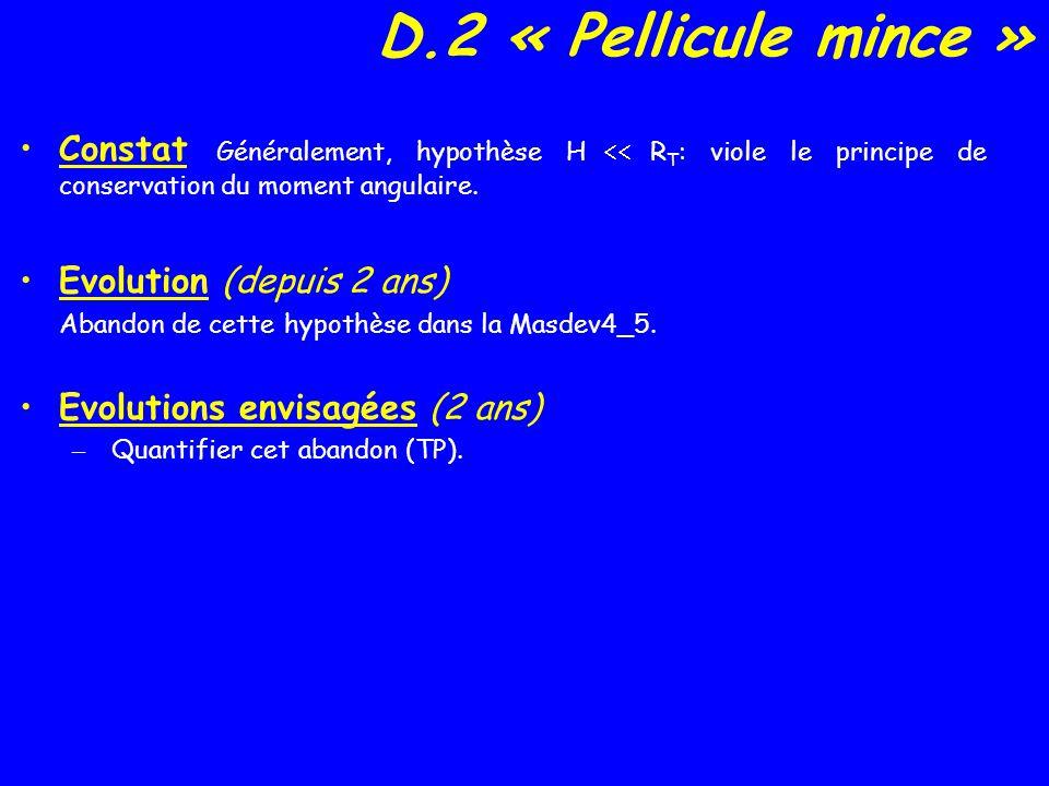 D.2 « Pellicule mince » Constat Généralement, hypothèse H R T : viole le principe de conservation du moment angulaire.