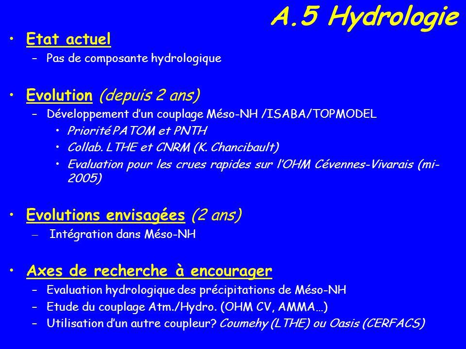 A.5 Hydrologie Etat actuel –Pas de composante hydrologique Evolution (depuis 2 ans) –Développement dun couplage Méso-NH /ISABA/TOPMODEL Priorité PATOM et PNTH Collab.