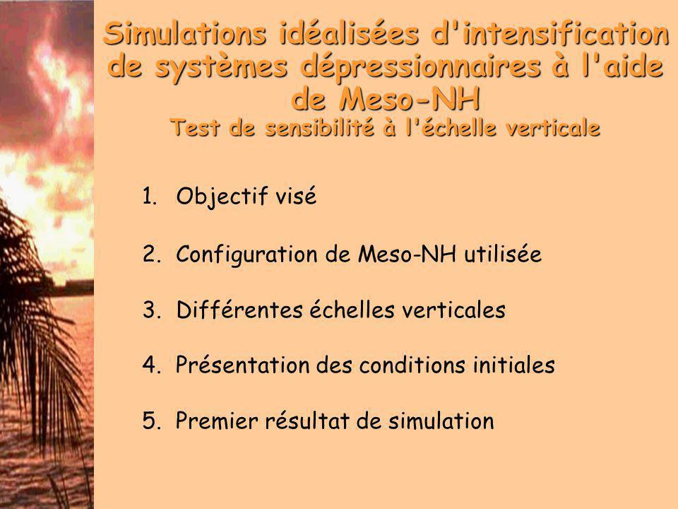 Objectif visé Estimer la capacité de Meso-NH à simuler l intensification d un système dépressionnaire tropical Via des simulations idéalisées Etudier l influence de l échelle verticale (Dougherty et Kimball - AMS 2004) Capacité à intensifier une tempête tropicale en fonction de la distribution de densité de niveaux verticaux Rapidité à atteindre le MPI