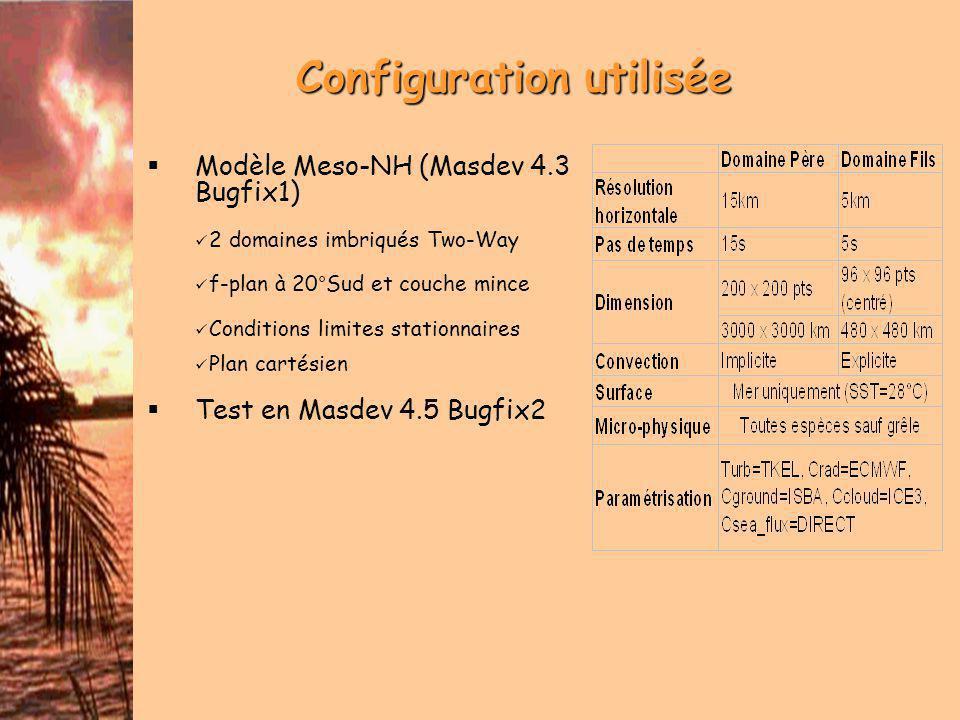 Configuration utilisée Modèle Meso-NH (Masdev 4.3 Bugfix1) 2 domaines imbriqués Two-Way f-plan à 20°Sud et couche mince Conditions limites stationnaires Plan cartésien Test en Masdev 4.5 Bugfix2