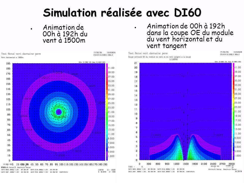 Animation de 00h à 192h du vent à 1500m Animation de 00h à 192h dans la coupe OE du module du vent horizontal et du vent tangent Simulation réalisée avec DI60