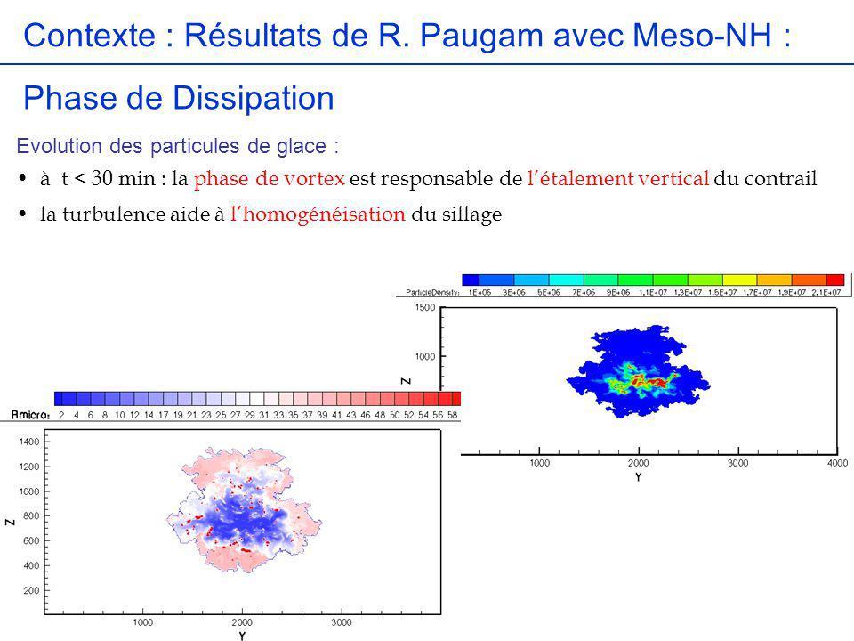 Contexte : Résultats de R. Paugam avec Meso-NH : Phase de Dissipation Evolution des particules de glace : à t < 30 min : la phase de vortex est respon