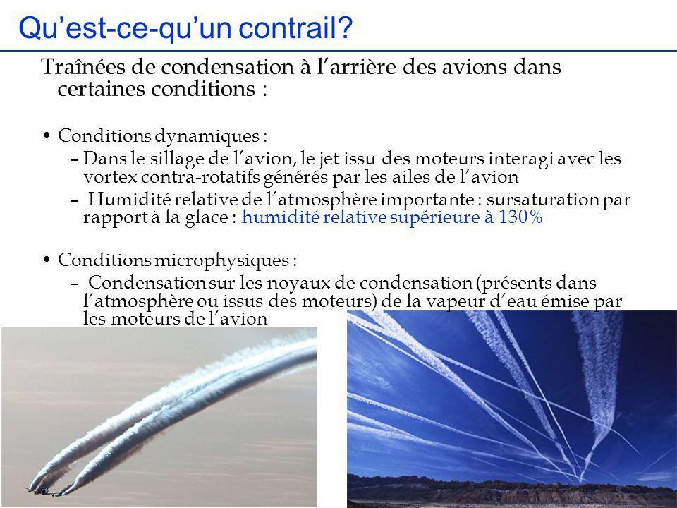 Quest-ce-quun contrail? Traînées de condensation à larrière des avions dans certaines conditions : Conditions dynamiques : –Dans le sillage de lavion,