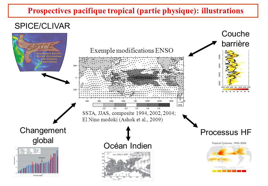Prospectives pacifique tropical (partie physique): illustrations SPICE/CLIVAR Couche barrière Changement global SSTA, JJAS, composite 1994, 2002, 2004