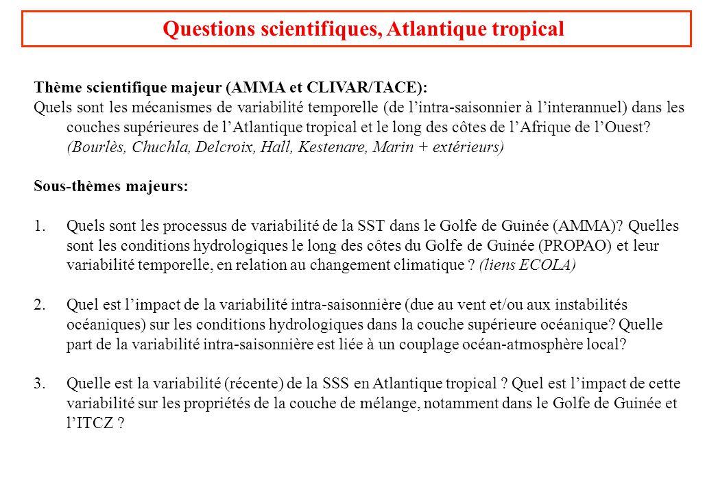 Questions scientifiques, Atlantique tropical Thème scientifique majeur (AMMA et CLIVAR/TACE): Quels sont les mécanismes de variabilité temporelle (de
