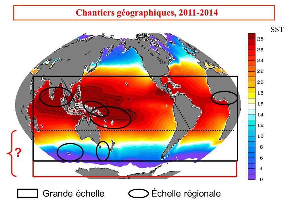 Chantiers géographiques, 2011-2014 Grande échelleÉchelle régionale SST ?