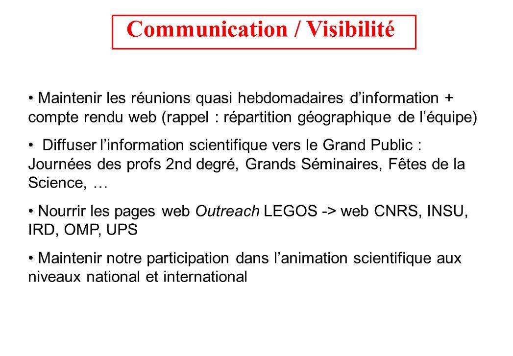 Communication / Visibilité Maintenir les réunions quasi hebdomadaires dinformation + compte rendu web (rappel : répartition géographique de léquipe) D