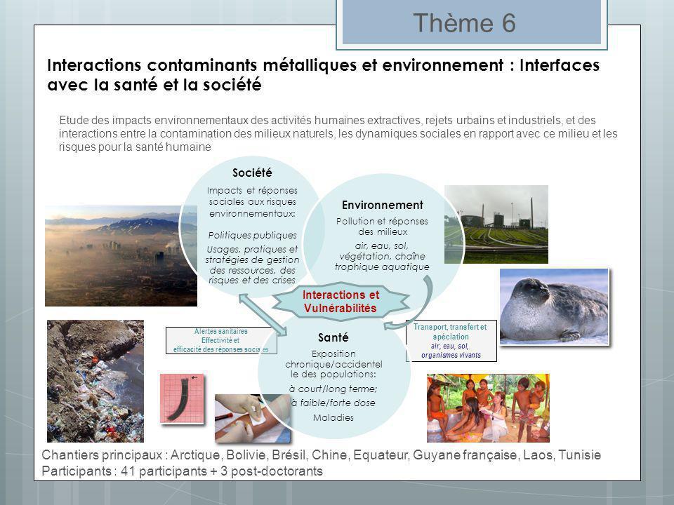 Etude des impacts environnementaux des activités humaines extractives, rejets urbains et industriels, et des interactions entre la contamination des m