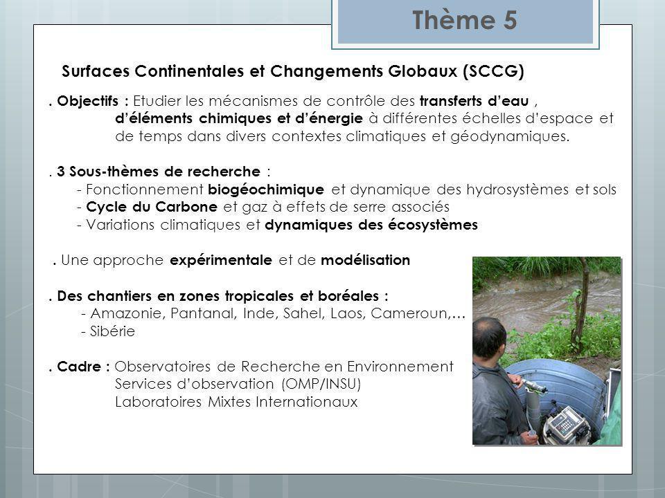 Surfaces Continentales et Changements Globaux (SCCG) Thème 5. Objectifs : Etudier les mécanismes de contrôle des transferts deau, déléments chimiques