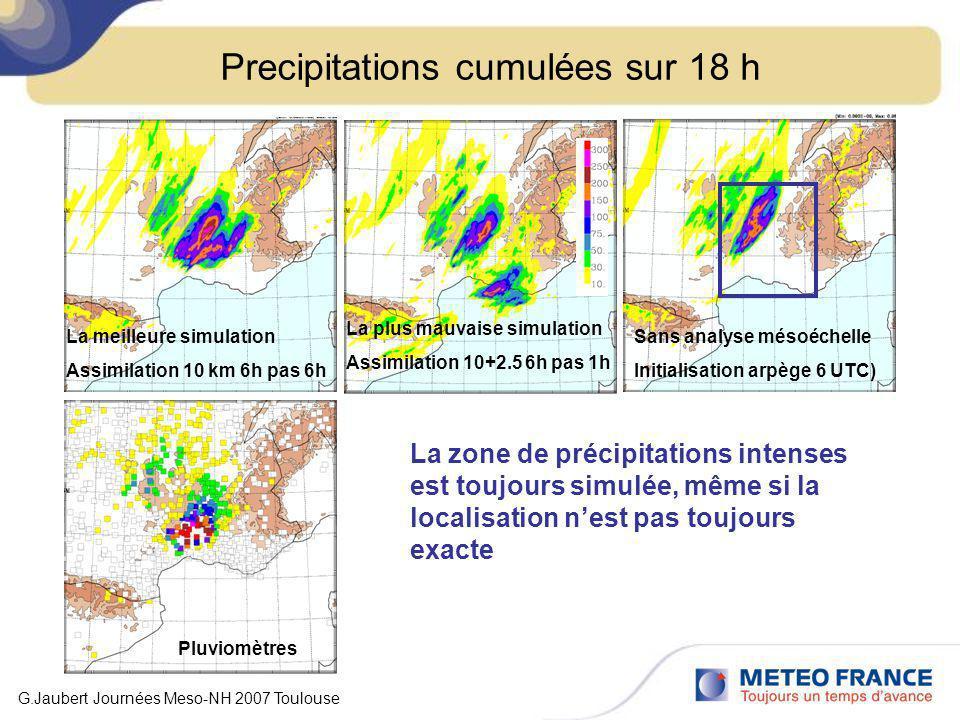 Precipitations cumulées sur 18 h Pluviomètres La plus mauvaise simulation Assimilation 10+2.5 6h pas 1h La meilleure simulation Assimilation 10 km 6h