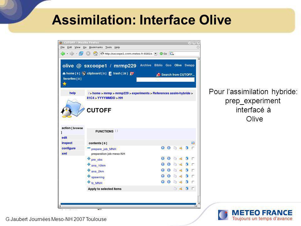 Assimilation: Interface Olive Pour lassimilation hybride: prep_experiment interfacé à Olive G.Jaubert Journées Meso-NH 2007 Toulouse