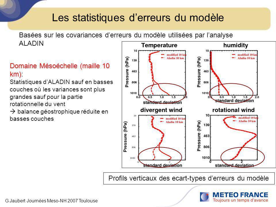Les statistiques derreurs du modèle Basées sur les covariances derreurs du modèle utilisées par lanalyse ALADIN Domaine échelle convective (maille 2.5 km) Domaine échelle convective (maille 2.5 km): Portées horizontales dALADIN réduites Variances plus grandes en basses couches Profils verticaux des écart-types derreurs du modèle Les écart-types calculés pour AROME sont plus proches de ceux dALADIN G.Jaubert Journées Meso-NH 2007 Toulouse