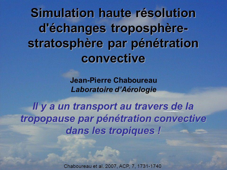 Simulation haute résolution d'échanges troposphère- stratosphère par pénétration convective Jean-Pierre Chaboureau Laboratoire dAérologie Il y a un tr