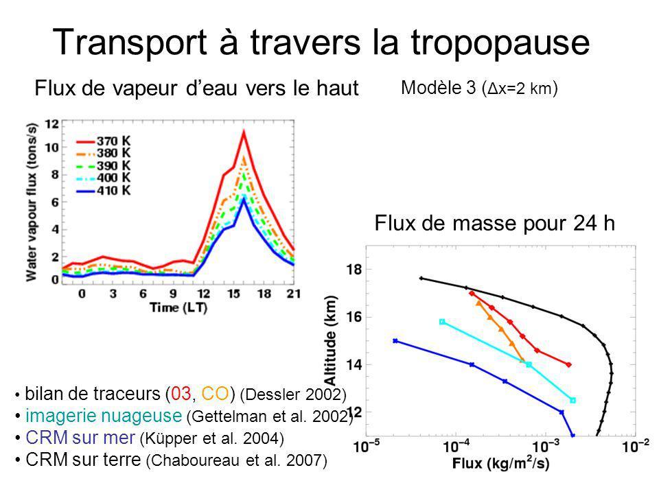 Transport à travers la tropopause Flux de vapeur deau vers le haut bilan de traceurs (03, CO) (Dessler 2002) imagerie nuageuse (Gettelman et al. 2002)