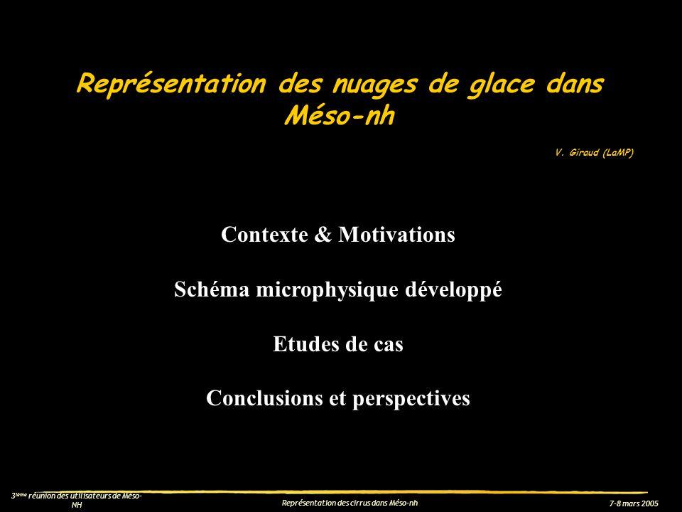 7-8 mars 2005 3 ième réunion des utilisateurs de Méso- NH Représentation des cirrus dans Méso-nh Conclusions et perspectives (Travail effectué dans le cadre de la thèse dO.