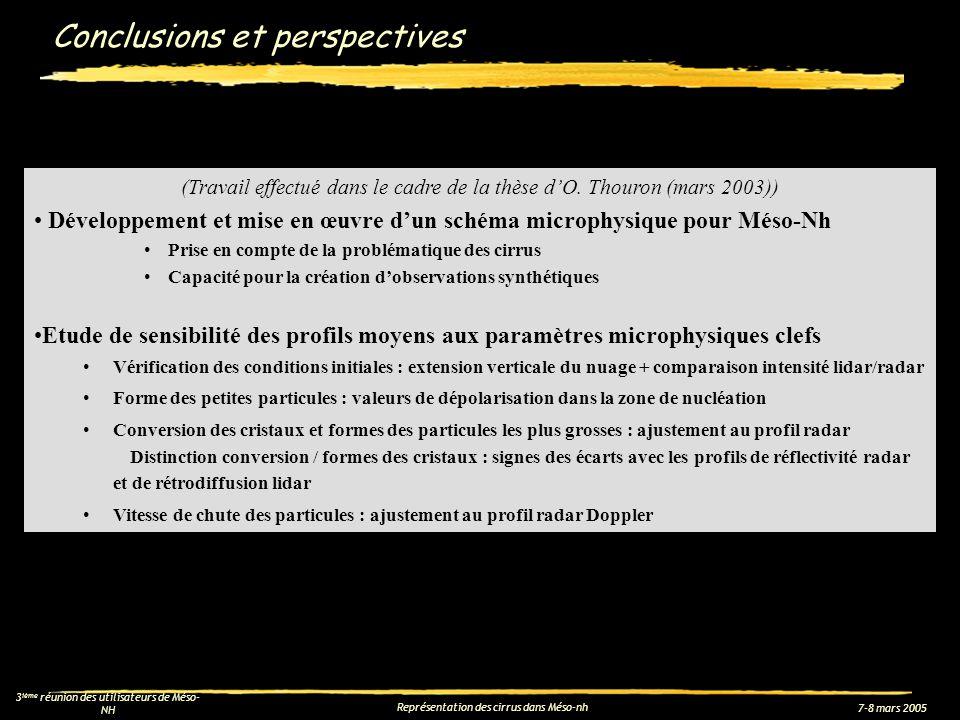 7-8 mars 2005 3 ième réunion des utilisateurs de Méso- NH Représentation des cirrus dans Méso-nh Conclusions et perspectives (Travail effectué dans le