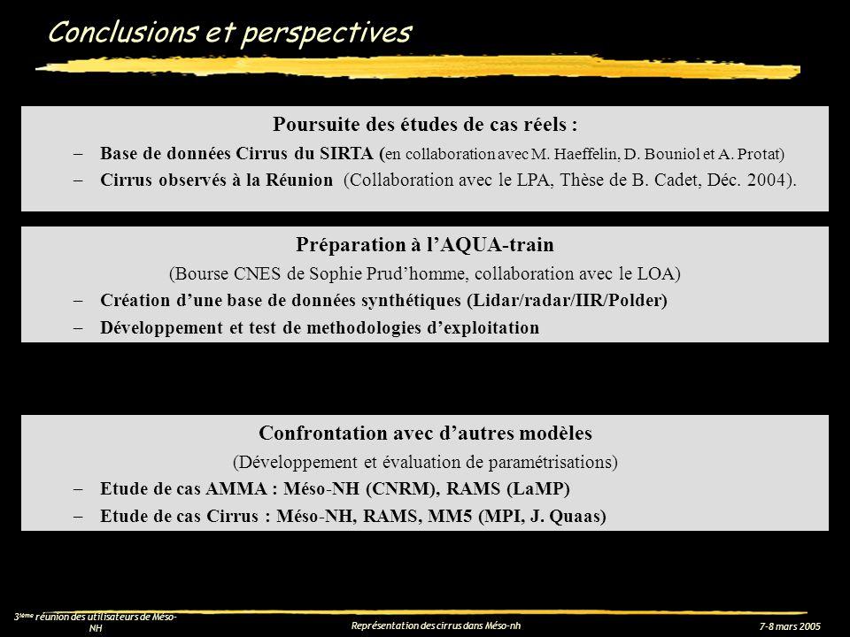 7-8 mars 2005 3 ième réunion des utilisateurs de Méso- NH Représentation des cirrus dans Méso-nh Conclusions et perspectives Poursuite des études de c
