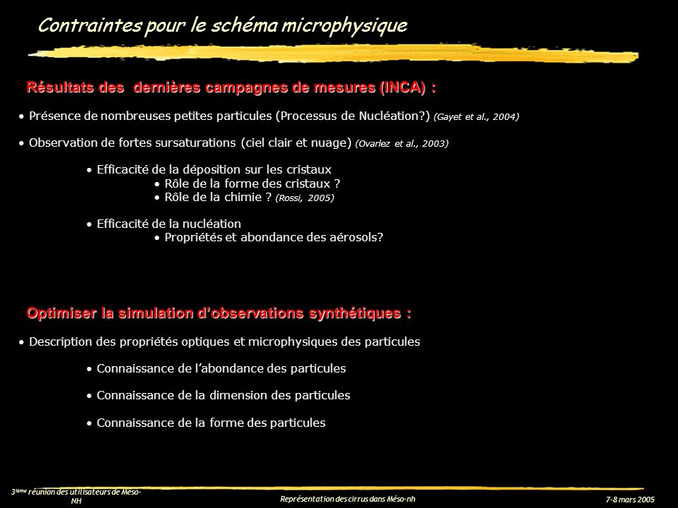 7-8 mars 2005 3 ième réunion des utilisateurs de Méso- NH Représentation des cirrus dans Méso-nh Contraintes pour le schéma microphysique Résultats de