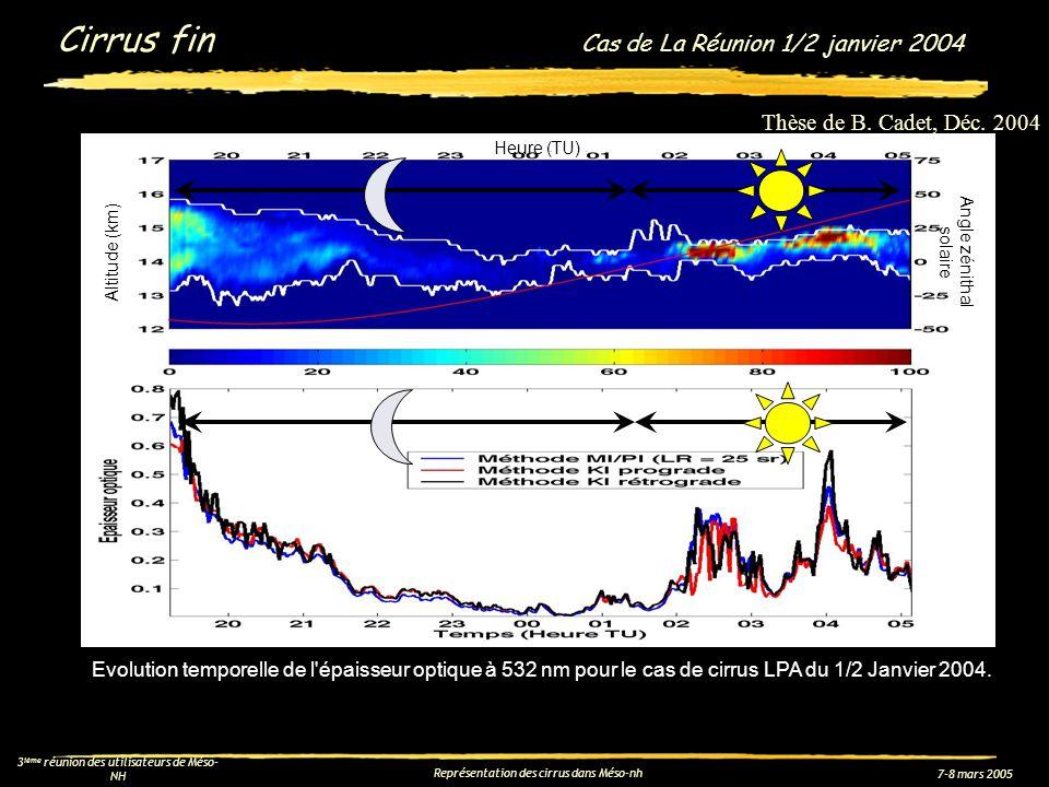7-8 mars 2005 3 ième réunion des utilisateurs de Méso- NH Représentation des cirrus dans Méso-nh Sensibilité sur cas de Cirrus fin Cas de La Réunion Taille des particules dans le schéma de rayonnement : -- dans le visible, paramétrisation de type Sun et Shine (1985), où : -- dans linfrarouge, paramétrisation de type Ebert et Curry (1992), où : Vitesse de sédimentation actuelle dans Méso-NH : pour une particule de 1D 2D Meso-Nh sans modif