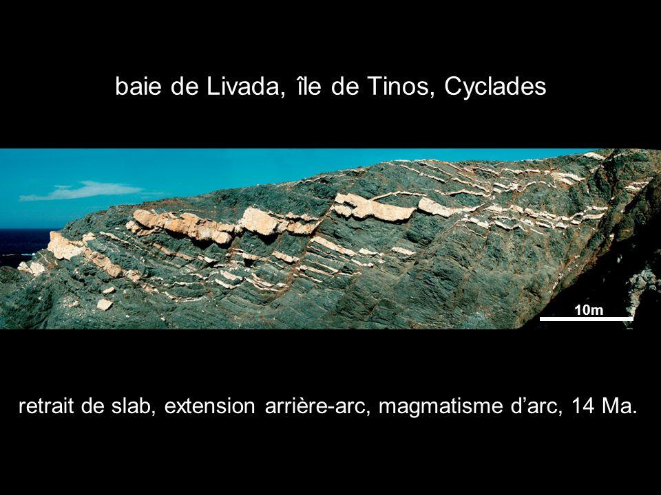 baie de Livada, île de Tinos, Cyclades 10m retrait de slab, extension arrière-arc, magmatisme darc, 14 Ma.