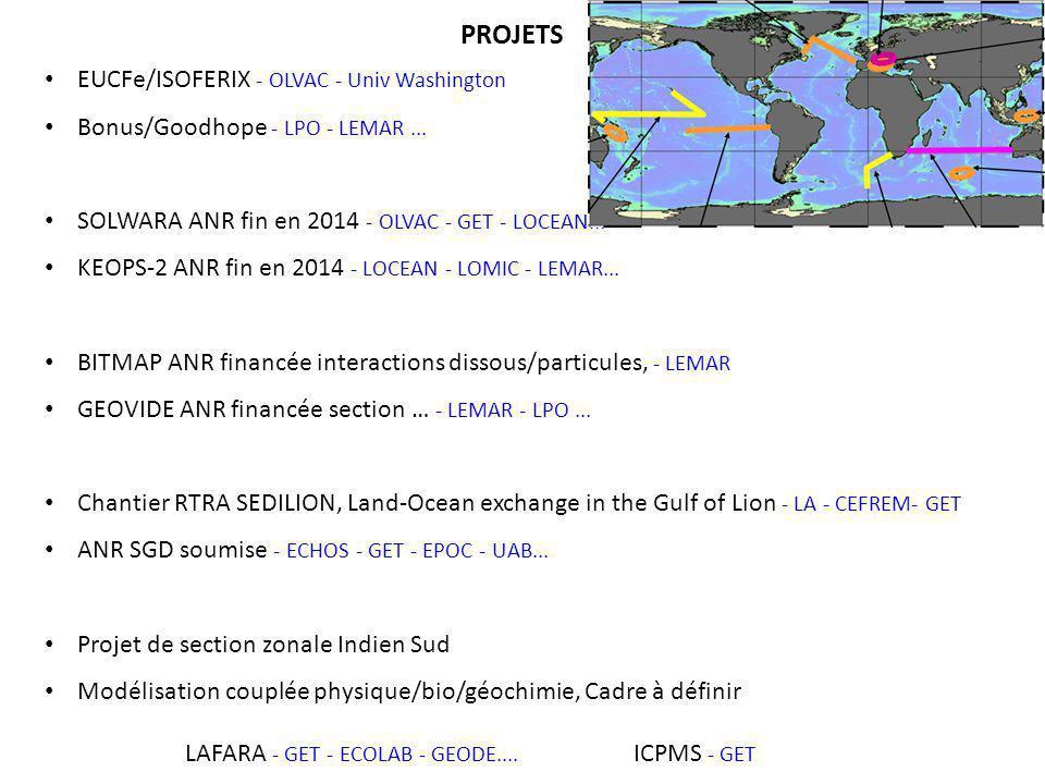 EUCFe/ISOFERIX - OLVAC - Univ Washington Bonus/Goodhope - LPO - LEMAR... SOLWARA ANR fin en 2014 - OLVAC - GET - LOCEAN... KEOPS-2 ANR fin en 2014 - L