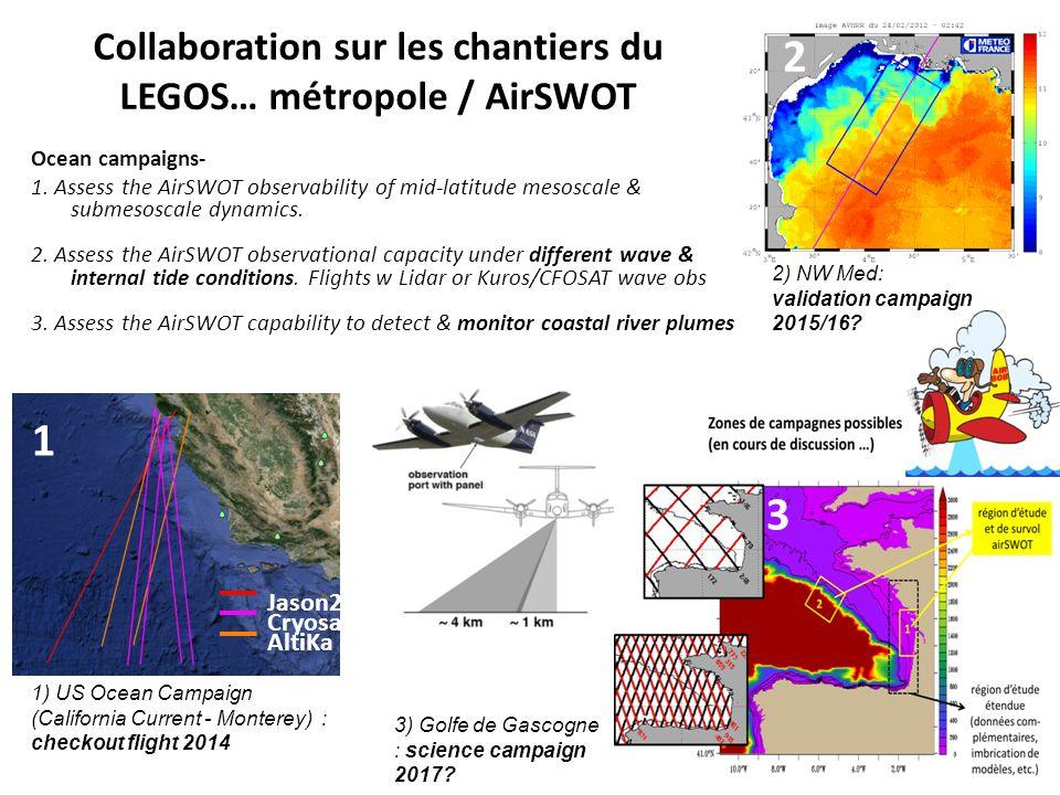 Collaboration sur les chantiers du LEGOS… métropole / AirSWOT Ocean campaigns- 1. Assess the AirSWOT observability of mid-latitude mesoscale & submeso