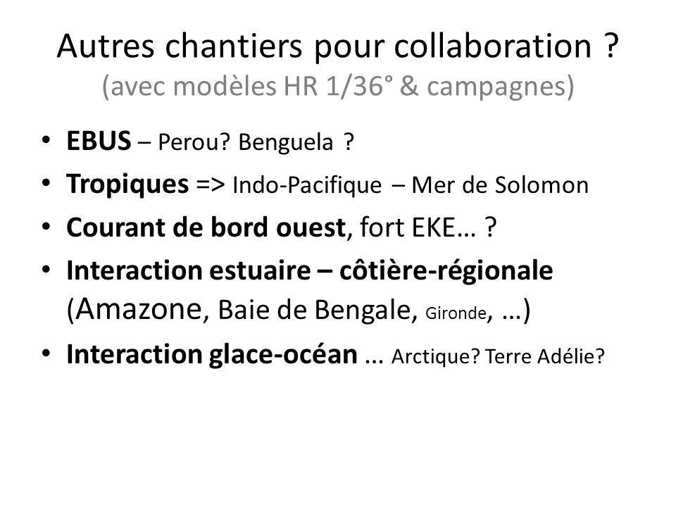 Autres chantiers pour collaboration ? (avec modèles HR 1/36° & campagnes) EBUS – Perou? Benguela ? Tropiques => Indo-Pacifique – Mer de Solomon Couran
