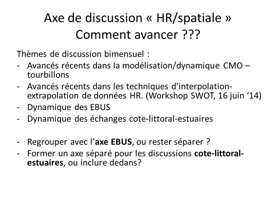 Axe de discussion « HR/spatiale » Comment avancer ??? Thèmes de discussion bimensuel : -Avancés récents dans la modélisation/dynamique CMO – tourbillo