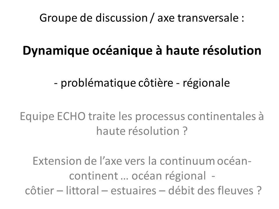 Groupe de discussion / axe transversale : Dynamique océanique à haute résolution - problématique côtière - régionale Equipe ECHO traite les processus
