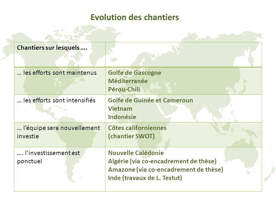 Evolution des chantiers Chantiers sur lesquels …. … les efforts sont maintenusGolfe de Gascogne Méditerranée Pérou-Chili … les efforts sont intensifié