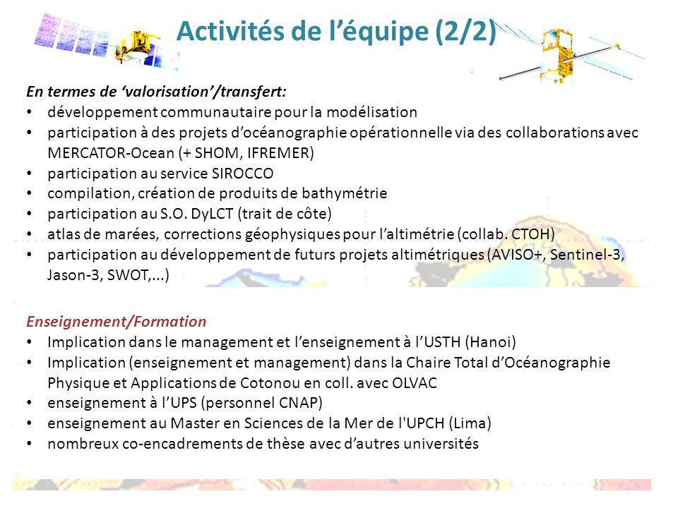 En termes de valorisation/transfert: développement communautaire pour la modélisation participation à des projets docéanographie opérationnelle via de