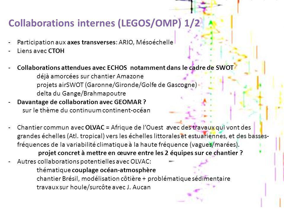 Collaborations internes (LEGOS/OMP) 1/2 -Participation aux axes transverses: ARIO, Mésoéchelle -Liens avec CTOH -Collaborations attendues avec ECHOS n