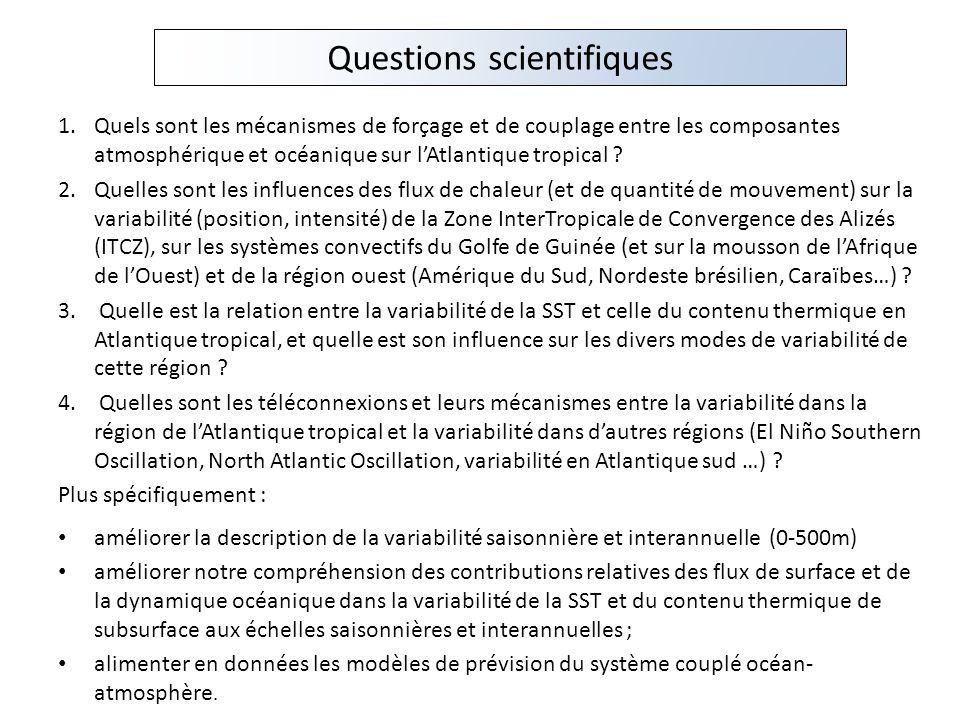 Questions scientifiques 1.Quels sont les mécanismes de forçage et de couplage entre les composantes atmosphérique et océanique sur lAtlantique tropica