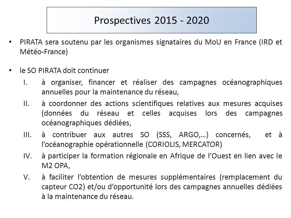 PIRATA sera soutenu par les organismes signataires du MoU en France (IRD et Météo-France) le SO PIRATA doit continuer I.à organiser, financer et réali