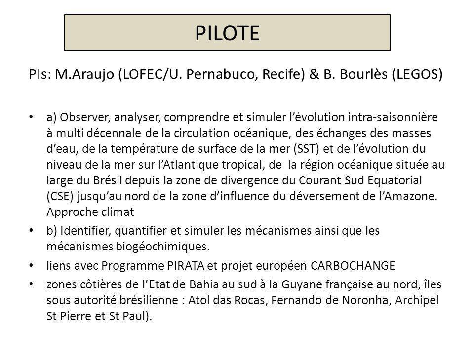 PILOTE PIs: M.Araujo (LOFEC/U. Pernabuco, Recife) & B. Bourlès (LEGOS) a) Observer, analyser, comprendre et simuler lévolution intra-saisonnière à mul