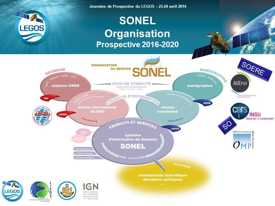 SONEL Organisation Prospective 2016-2020 Journées de Prospective du LEGOS – 23-24 avril 2014 SOERE SO