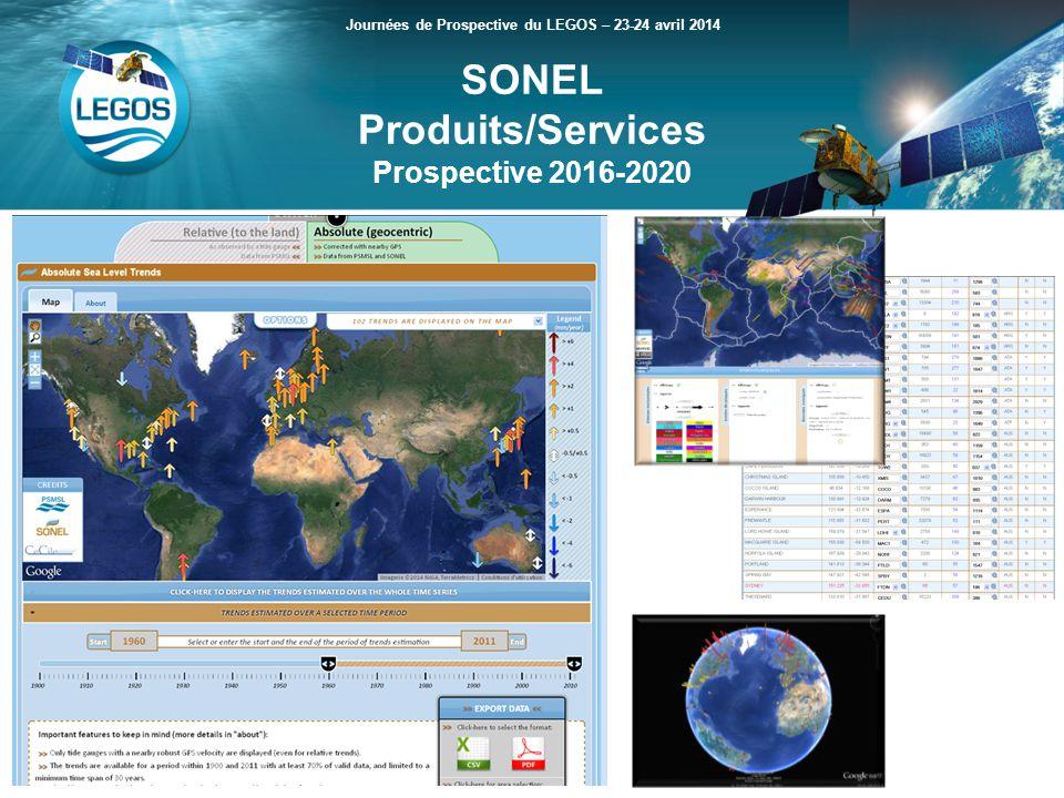 SONEL Produits/Services Prospective 2016-2020 Journées de Prospective du LEGOS – 23-24 avril 2014