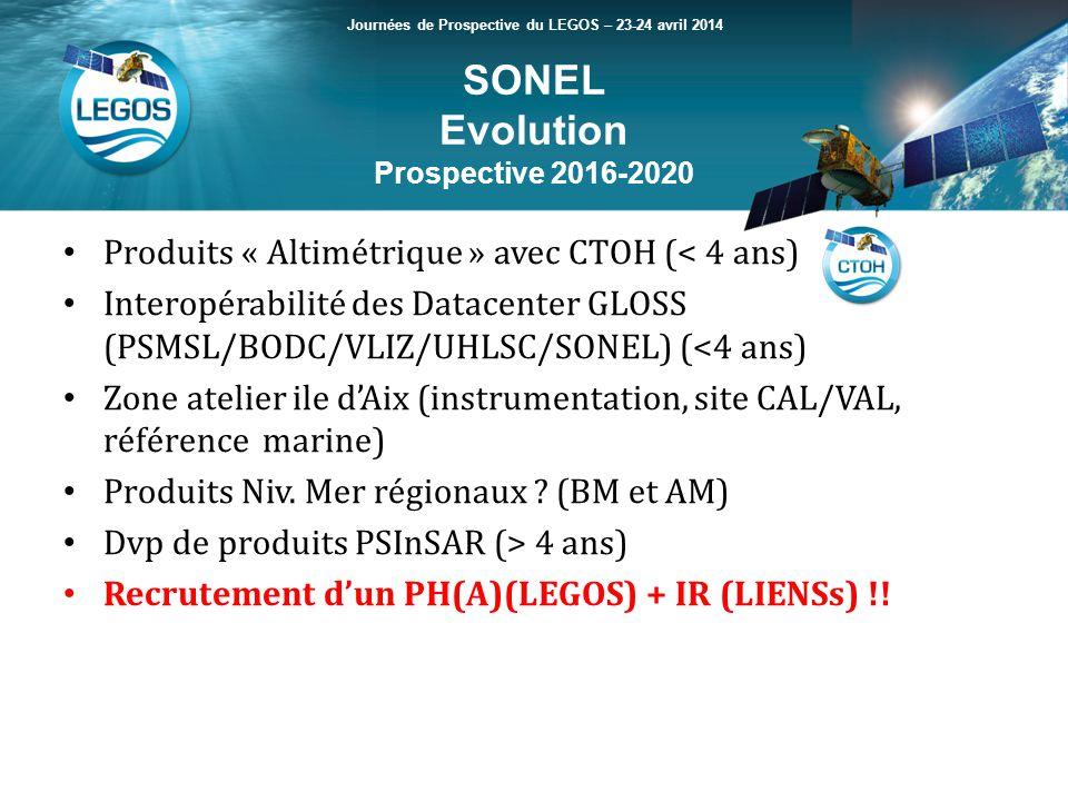 SONEL Evolution Prospective 2016-2020 Journées de Prospective du LEGOS – 23-24 avril 2014 Produits « Altimétrique » avec CTOH (< 4 ans) Interopérabilité des Datacenter GLOSS (PSMSL/BODC/VLIZ/UHLSC/SONEL) (<4 ans) Zone atelier ile dAix (instrumentation, site CAL/VAL, référence marine) Produits Niv.