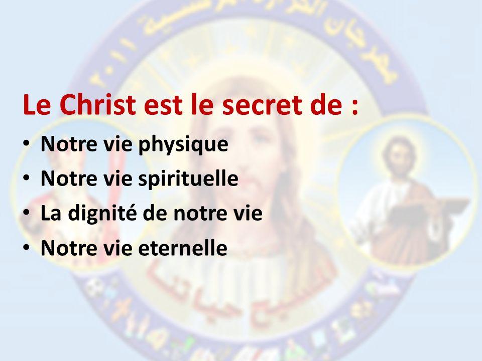 Le Christ est le secret de : Notre vie physique Notre vie spirituelle La dignité de notre vie Notre vie eternelle
