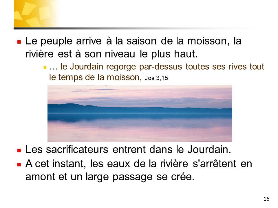 16 Le peuple arrive à la saison de la moisson, la rivière est à son niveau le plus haut. … le Jourdain regorge par-dessus toutes ses rives tout le tem