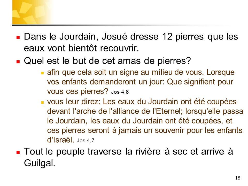 18 Dans le Jourdain, Josué dresse 12 pierres que les eaux vont bientôt recouvrir. Quel est le but de cet amas de pierres? afin que cela soit un signe