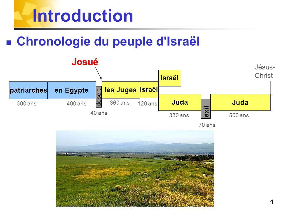 4 patriarches les Juges Juda Israël Juda désert exil 400 ans 40 ans 120 ans300 ans 330 ans 70 ans 500 ans Israël 360 ans Introduction Chronologie du peuple d Israël en Egypte Josué Jésus- Christ