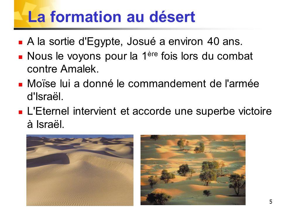 5 La formation au désert A la sortie d'Egypte, Josué a environ 40 ans. Nous le voyons pour la 1 ère fois lors du combat contre Amalek. Moïse lui a don
