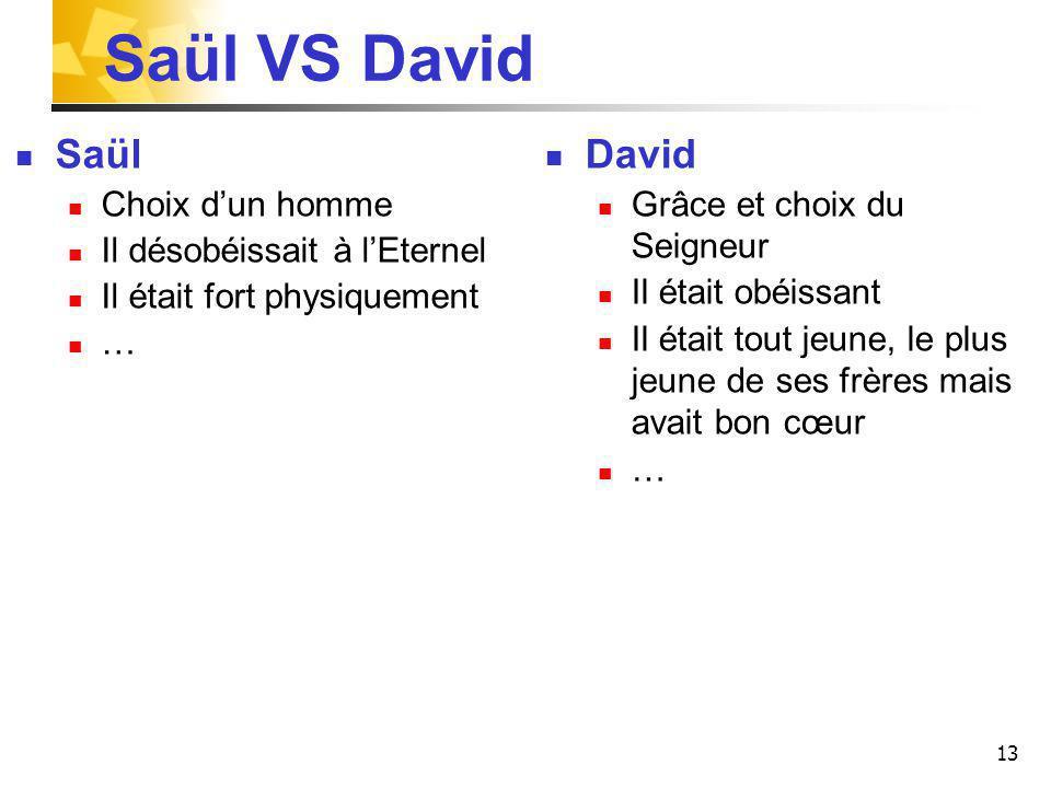 Saül VS David Saül Choix dun homme Il désobéissait à lEternel Il était fort physiquement … David Grâce et choix du Seigneur Il était obéissant Il étai